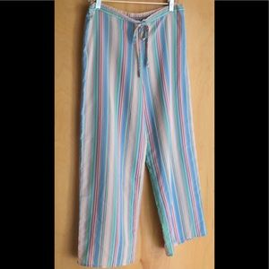 Natori candy-striped drawstring waist pants size S